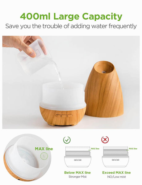 InnoGear 400ml Aromatherapy Essential Oil Diffuser Aroma Diffusers Cool Mist Humidifier with 4 Timer Settings Adjustable Mist Mode Waterless Auto-off for Home Office Bedroom