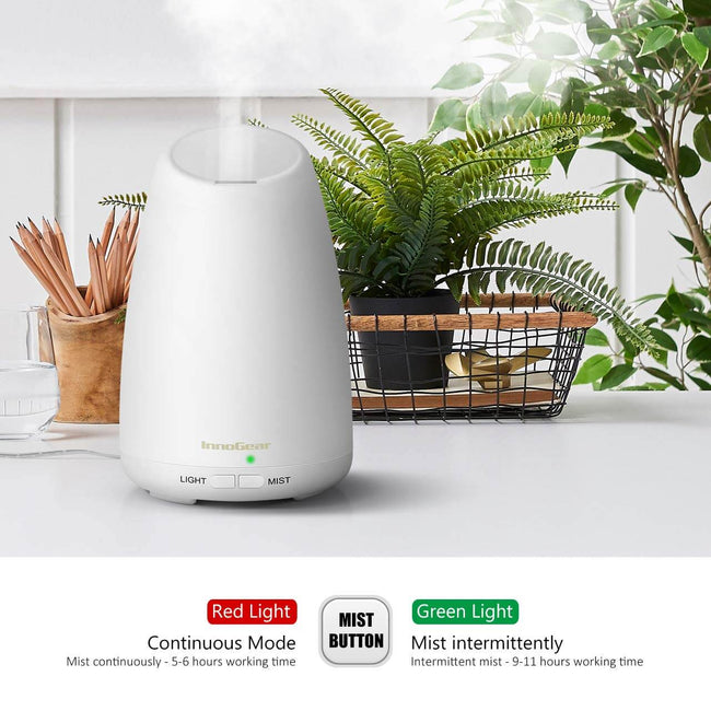 InnoGear 150ml Aromatherapy Essential Oil Diffuser Ultrasonic Portable Cool Mist Aroma Room Freshener with Waterless Auto Shut-off Function, White