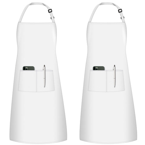 InnoGear 2 Pack Adjustable Bib Aprons, Waterdrop Resistant Apron with 2 Pockets Cooking Kitchen Restaurant Aprons for BBQ Drawing, Women Men Chef (White)