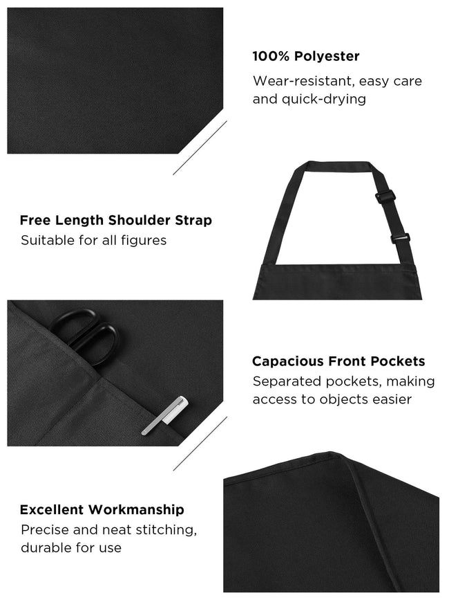 InnoGear 4 Pack Adjustable Bib Aprons, Waterdrop Resistant Apron with 2 Pockets Cooking Kitchen Restaurant Aprons for BBQ Drawing, Women Men Chef (Black)