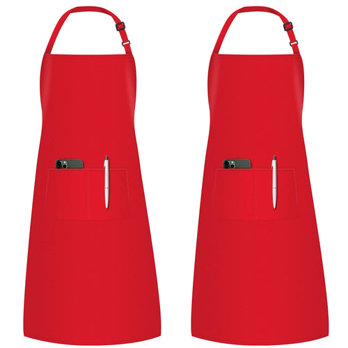 InnoGear 2 Pack Adjustable Bib Aprons, Waterdrop Resistant Apron with 2 Pockets Cooking Kitchen Restaurant Aprons for BBQ Drawing, Women Men Chef (Red)