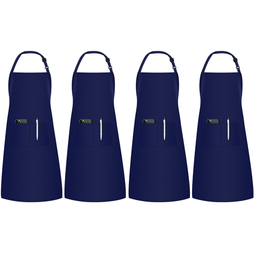 InnoGear 4 Pack Adjustable Bib Aprons, Waterdrop Resistant Apron with 2 Pockets Cooking Kitchen Restaurant Aprons for BBQ Drawing, Women Men Chef (Navy Blue)