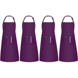 InnoGear 4 Pack Adjustable Bib Aprons, Waterdrop Resistant Apron with 2 Pockets Cooking Kitchen Restaurant Aprons for BBQ Drawing, Women Men Chef (Purple)