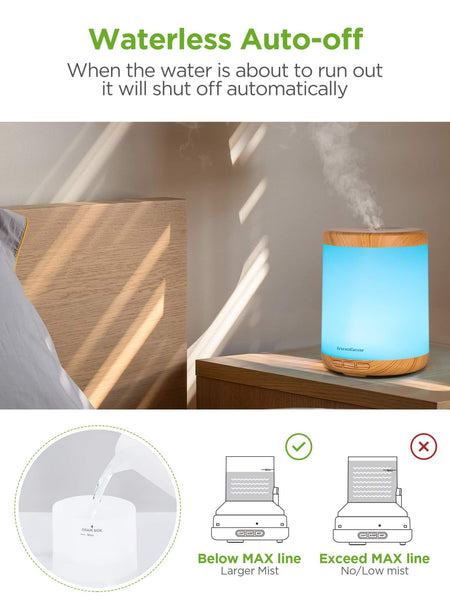 InnoGear 150ml Essential Oil Diffuser, Ultrasonic Aromatherapy Diffusers Cool Mist Humidifier with Colorful Mood Lights Waterless Auto Off for Home Office Baby Room (Yellow)