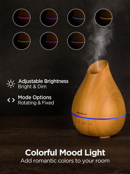 InnoGear Essential Oil Diffuser, 150ml Diffuser for Essential Oils Aromatherapy Diffuser Cool Mist Humidifier with Rapid Diffusion Mode 7 Colors Light Waterless Auto-off for Home and Office, Yellow