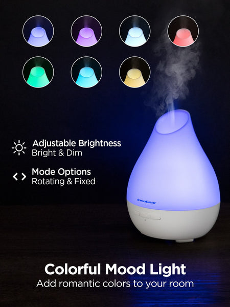 InnoGear Essential Oil Diffuser, 150ml Diffuser for Essential Oils Aromatherapy Diffuser Cool Mist Humidifier with Rapid Diffusion Mode 7 Colors Light Waterless Auto-off for Home and Office, White