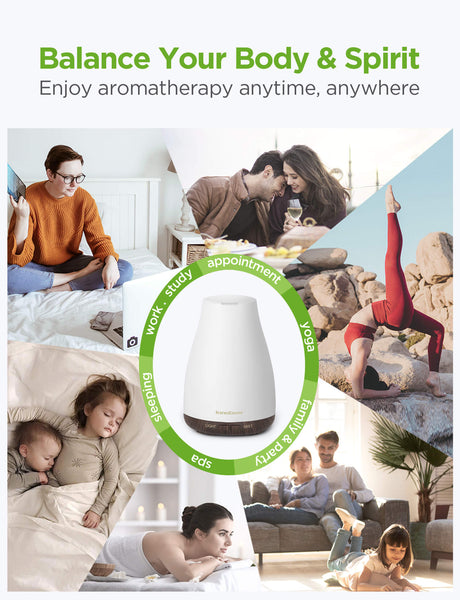 InnoGear Essential Oil Diffuser, Upgraded Diffusers for Essential Oils Aromatherapy Diffuser Cool Mist Humidifier with 7 Colors Lights 2 Mist Mode Waterless Auto Off for Home Office Room, White&Brown