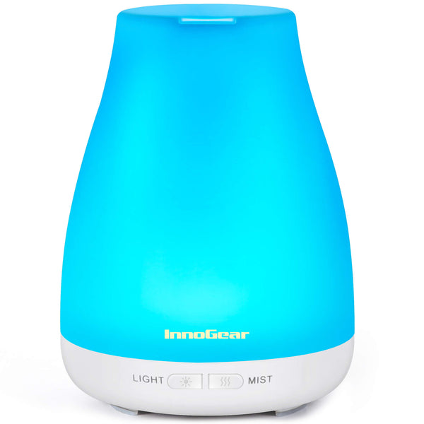 InnoGear Essential Oil Diffuser, 300ml Diffuser for Essential Oils Aromatherapy Diffuser Cool Mist Humidifier with 8 Colors Light 2 Mist Mode Waterless Auto off for Home Office, Basic White