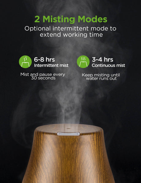 InnoGear Essential Oil Diffuser, Upgraded Diffusers for Essential Oils Aromatherapy Diffuser Cool Mist Humidifier with 7 Colors Lights 2 Mist Mode Waterless Auto Off for Home Office Room, Bronze