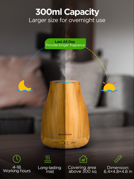 InnoGear Essential Oil Diffuser, 300ml Diffuser for Essential Oils Aromatherapy Diffuser Cool Mist Humidifier with 8 Colors Light 2 Mist Mode Waterless Auto off for Home Office, Yellow