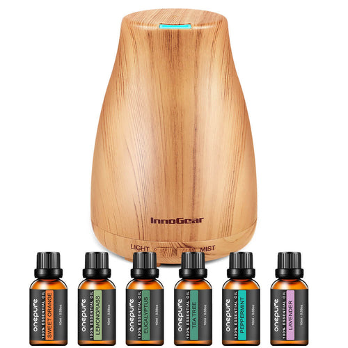 InnoGear Essential Oil Diffuser with Oils, 150ml Aromatherapy Diffuser with 6 Essential Oils Set, Aroma Cool Mist Humidifier Gift Set