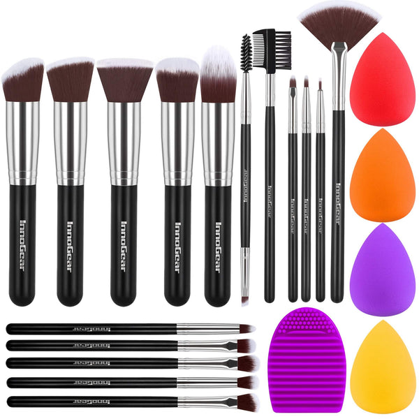 InnoGear Makeup Brushes Set, Professional Cosmetic Brush Set with 16 Makeup Brushes and Sponges and Brush Cleaner for Foundation Powder Concealers Eyeshadows Liquid Cream, Black Silver