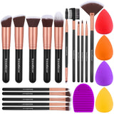 InnoGear Makeup Brushes Set, Professional Cosmetic Brush Set with 16 Makeup Brushes and Sponges and Brush Cleaner for Foundation Powder Concealers Eyeshadows Liquid Cream, Black Golden