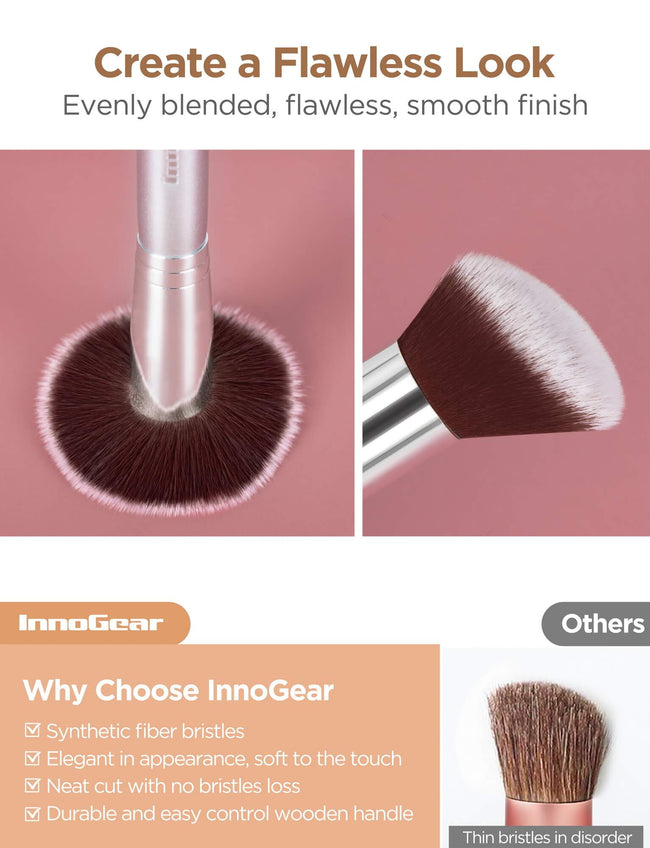 InnoGear Makeup Brushes Set, Professional Cosmetic Brush Set with 16 Makeup Brushes and Sponges and Brush Cleaner for Foundation Powder Concealers Eyeshadows Liquid Cream, Silver