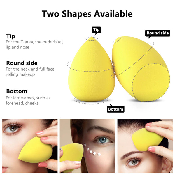 InnoGear Makeup Sponge Blender Set, Latex-Free Beauty Sponge Makeup Foundation, Flawless for Powder, Cream or Liquid Application, Soft Multi-Purpose Cosmetic Applicator Puff (10 Pcs) (Yellow)