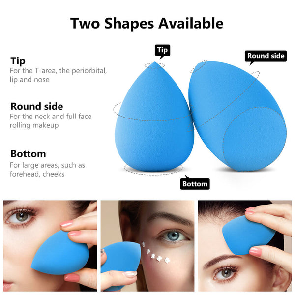 InnoGear Makeup Sponge Blender Set, Latex-Free Beauty Sponge Makeup Foundation, Flawless for Powder, Cream or Liquid Application, Soft Multi-Purpose Cosmetic Applicator Puff (10 Pcs) (Blue)