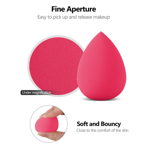InnoGear Makeup Sponge Blender Set, Latex-Free Beauty Sponge Makeup Foundation, Flawless for Powder, Cream or Liquid Application, Soft Multi-Purpose Cosmetic Applicator Puff (10 Pcs) (Rose Red)