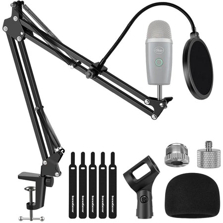 "InnoGear Microphone Stand Adjustable Suspension Boom Scissor Arm Stand with 3/8""to 5/8"" Screw Adapter Shock Mount Windscreen Pop Filter Mic Clip Holder Cable Ties for Microphones"