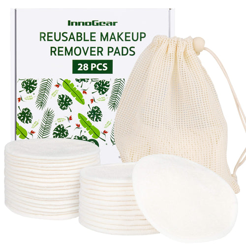 InnoGear Reusable Makeup Remover Pads 28 Pack, Cotton Rounds Organic Washable Facial Cleansing Round Cotton Pad Bamboo Face Pads with Laundry Bag