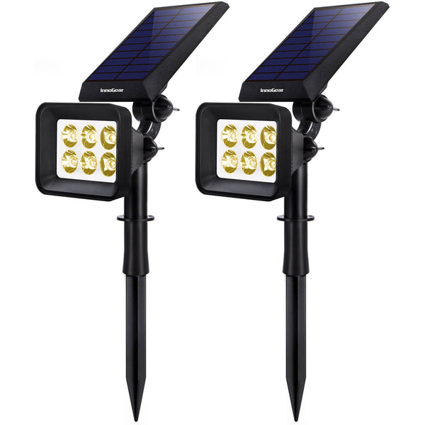 InnoGear Upgraded 6 LED Solar Landscape Spotlights 2-in-1 Wireless IP65 Waterproof Auto On/Off Outdoor Solar Landscaping Lights for Yard Garden Driveway Pathway Pool, Pack of 2 (Warm White)