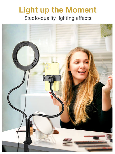 InnoGear Webcam Lighting Stand, 72 LED Selfie Ring Light Webcam Stand for Live Stream with Cell Phone Holder and Camera Mount for Cellphones, Logitech C925e, C922x, C930e,C922,C930,C920,C615