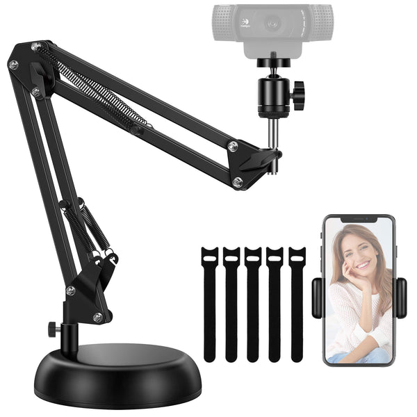 "InnoGear Webcam Stand, Adjustable Desk Suspension Boom Scissor Arm Stand with Weighted Base and Phone Hoder for Logitech Webcam C922 C930e C930 C920 C615 Other Devices with 1/4"" Thread and Cellphone"