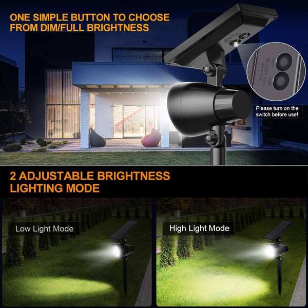 InnoGear Solar Lights Upgraded Outdoor 2-in-1 Solar Spotlights 6 LED Adjustable Wall Light Landscape Light Security Lighting Outdoor Auto On/Off for Patio, Deck, Yard, Garden, Pack of 2