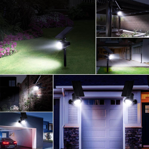 InnoGear 3rd Version 6 LED Solar Lights Outdoor 2-in-1 Solar Spotlights Adjustable Wall Light Landscape Light Security Lighting Auto On/Off for Yard Garden Driveway Porch Walkway Pool Patio, Pack of 2