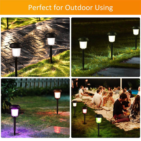InnoGear Upgraded Solar Pathway Garden Lights Waterproof Outdoor LED Landscape Lighting Auto On/Off White and Colorful Light Wireless Sun Powered for Yard Patio Walkway, Pack of 6