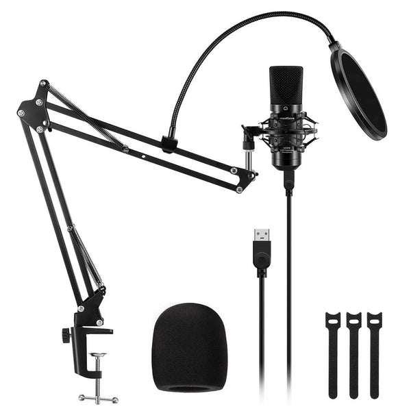 InnoGear USB Microphone Kit, Professional Studio Cardioid Condenser Mic Kit with 2.8 Meter USB Cable Boom Arm Stand Shock Mount Pop Filter Foam Windscreen for Skype YouTube Gaming Recording