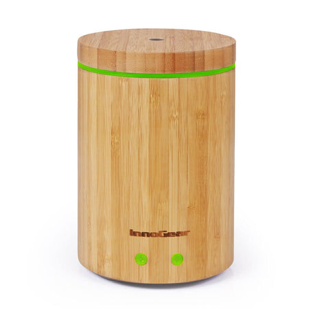 InnoGear Upgraded Bamboo Essential Oil Diffuser Ultrasonic Aroma Aromatherapy Diffuser Cool Mist Humidifier with Intermittent Continuous Mist 2 Working Modes Waterless Auto Off 7 Color LED Light, Dark