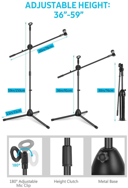 InnoGear Upgraded Microphone Stand Dual Mic Clip Holders with Heavy Metal Base Adjustable Collapsible Tripod Boom Mic Stands