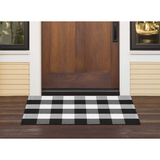 InnoGear Area Rugs Buffalo Plaid Check Black and White Cotton Polyester Checkered Rug for Welcome Door Mat Kitchen Bathroom Outdoor Porch Living Room (23.6 x 35.4 inches)