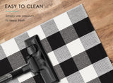 InnoGear Buffalo Area Rug, Classic Plaid Check Black and White Cotton Polyester Checkered Rug for Welcome Door Mat Kitchen Bathroom Outdoor Porch Living Room (35.4 x 59 inches)