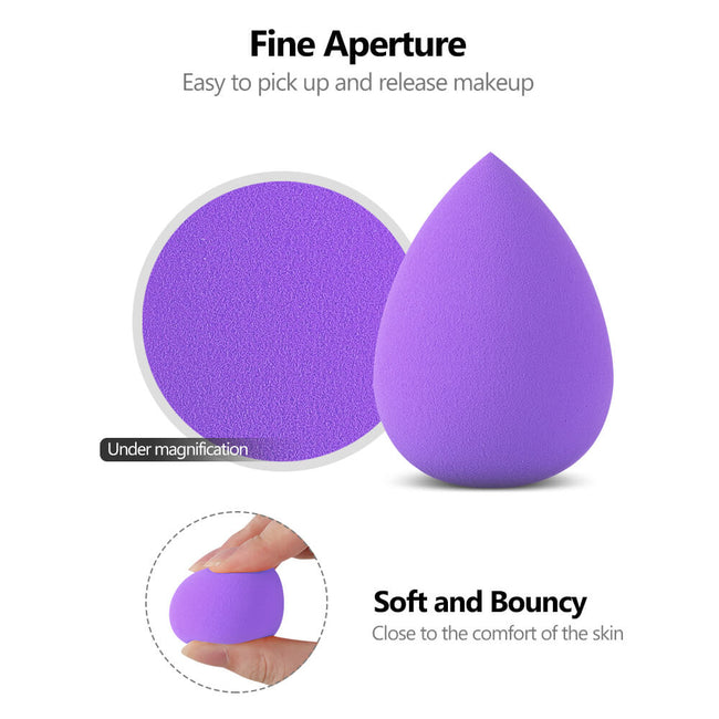 InnoGear Makeup Sponge Blender Set, Purple Latex-Free Beauty Sponge Makeup Foundation, Flawless for Powder, Cream or Liquid Application, Soft Multi-Purpose Cosmetic Applicator Puff (10 Pcs)