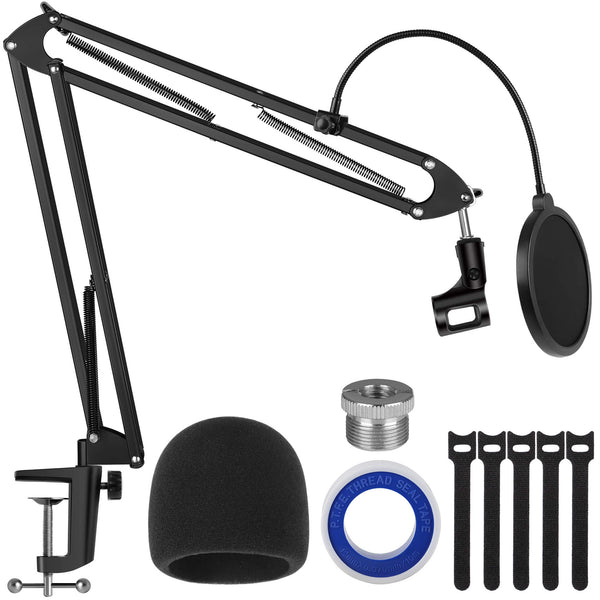 "InnoGear Microphone Stand, Upgraded Mic Stand Max Load 4.0 lb Boom Scissor Arm Stand with Windscreen, Pop Filter, 3/8"" to 5/8"" Screw Adapter, Mic Clip and Cable Ties for Blue Yeti and Other Mic"