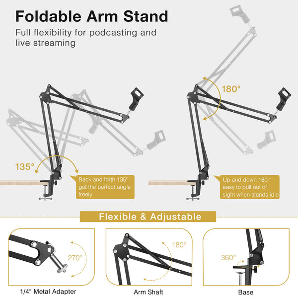 "InnoGear Webcam Stand, Suspension Boom Scissor Arm Stand for Logitech Webcam BRIO C920 C920S C922 C922x C925e C930 C930e, 1/4""-3/8"" and 3/8""-5/8"" Screw for Blue Yeti Snowball Yeti Nano and Other Mics"