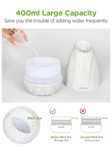 InnoGear Essential Oil Diffuser, 400ml Aromatherapy Diffusers for Essential Oils Cool Mist Humidifier with 4 Timer Adjustable Mist Waterless Auto-off for Home Office Bedroom (White Grey)