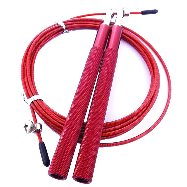 Red Jump rope aluminum handles stainless steel wire