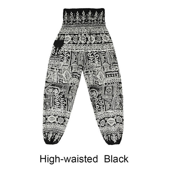 6 Colors Summer Beach Pants Women Thai High Waist Outdoor Yoga Pants Plus Size Loose Print Bloomers Trousers Women