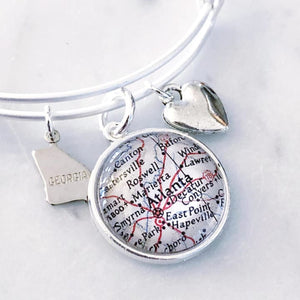 Atlanta Map Charm Bangle Bracelet