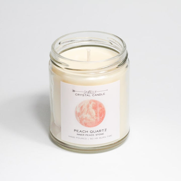 Peach Quartz Crystal Candle - Inner Peace | 9 oz