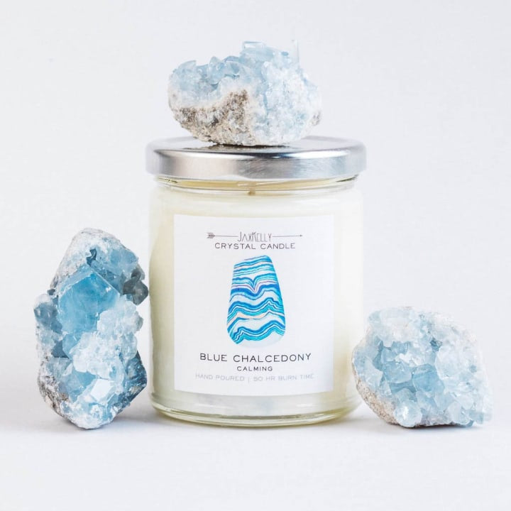 Blue Chalcedony Crystal Candle - Calming | 9 oz