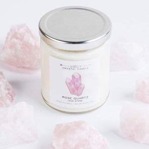 Rose Quartz Crystal Candle - Love 9 oz
