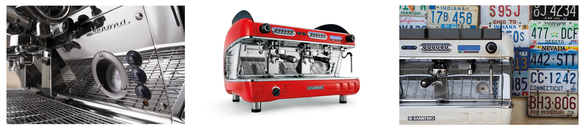 Sanremo Verona SED Details Red Situ Chrome Retro Espresso Machine