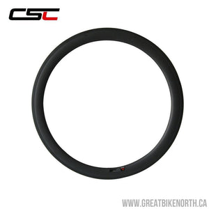 CSC 23mm Wide Carbon Road Rim 50mm Clincher - 24 hole-Great Bike North