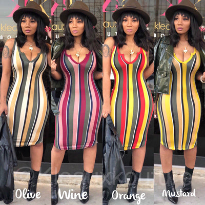 Basic Stripe MIDI DRESS *Reloaded