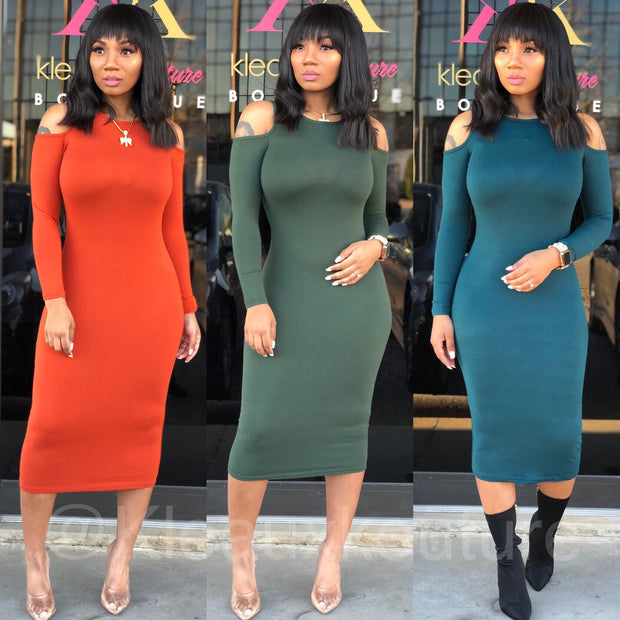 Open Shoulder Basic Midi Dress
