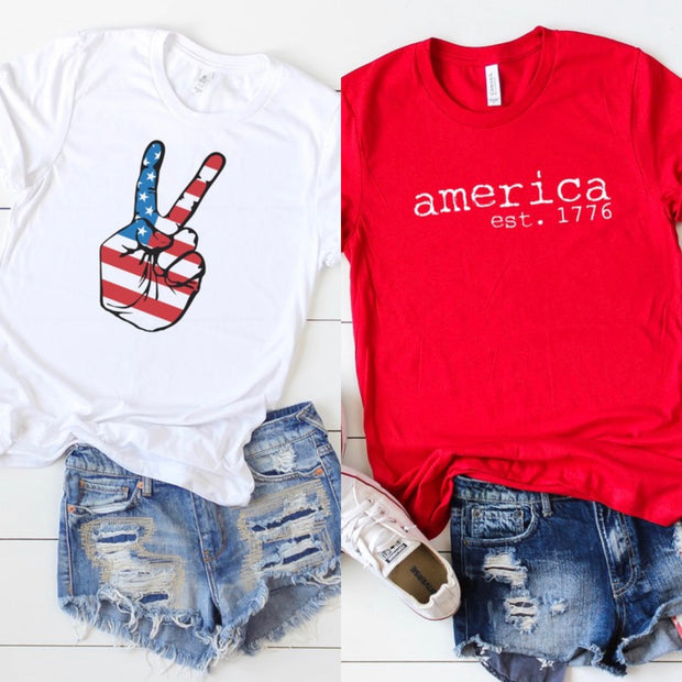 RED,WHITE,BLUE GRAPHIC TEES