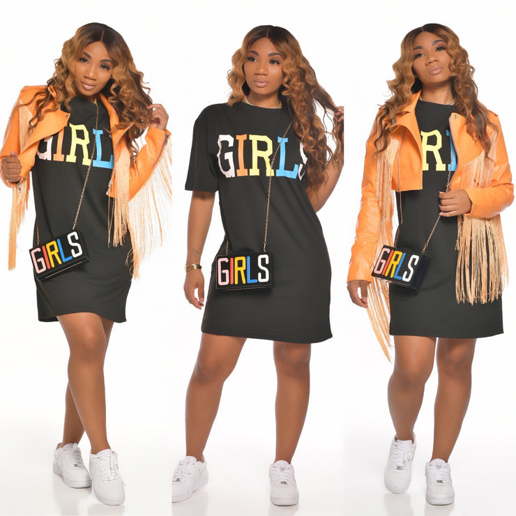 GIRLS SET (TSHIRT DRESS AND PURSE)